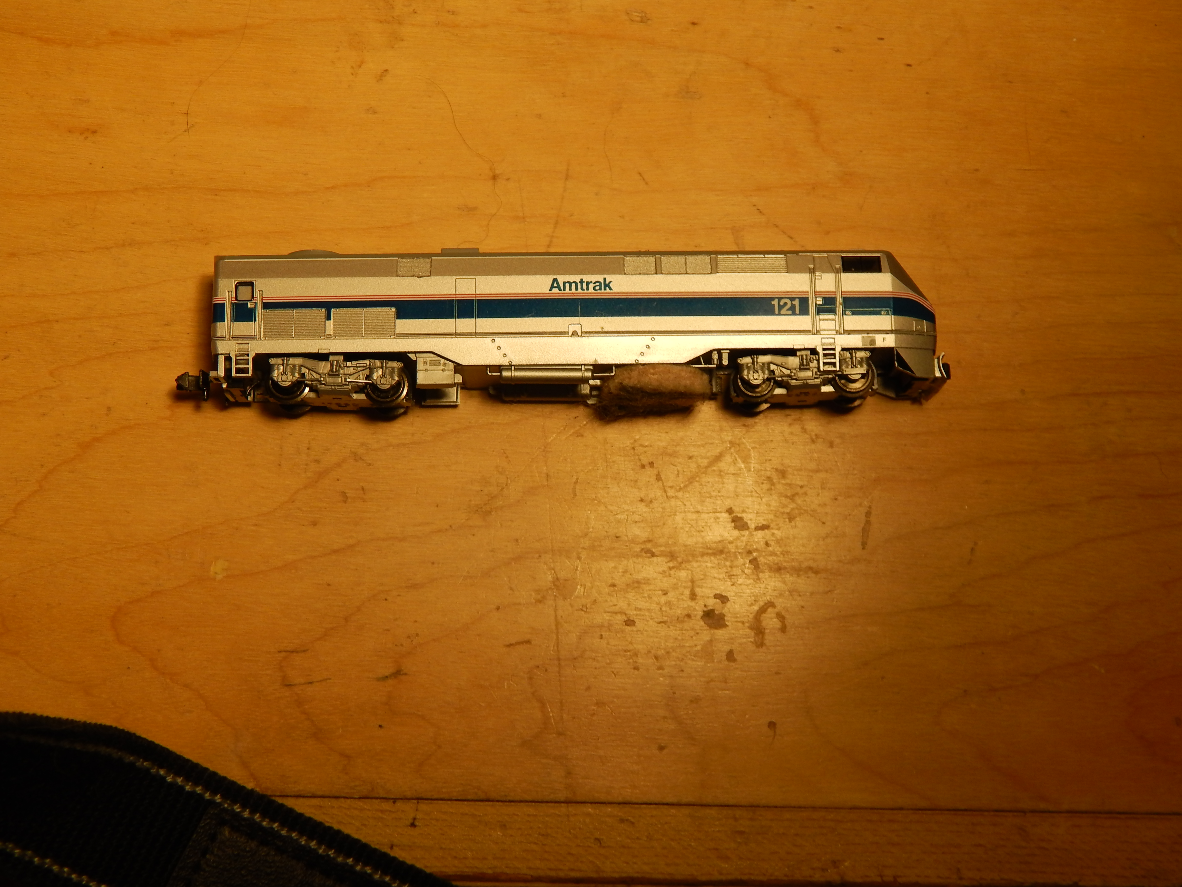 N Scale P-42 gutted as track cleaner 1