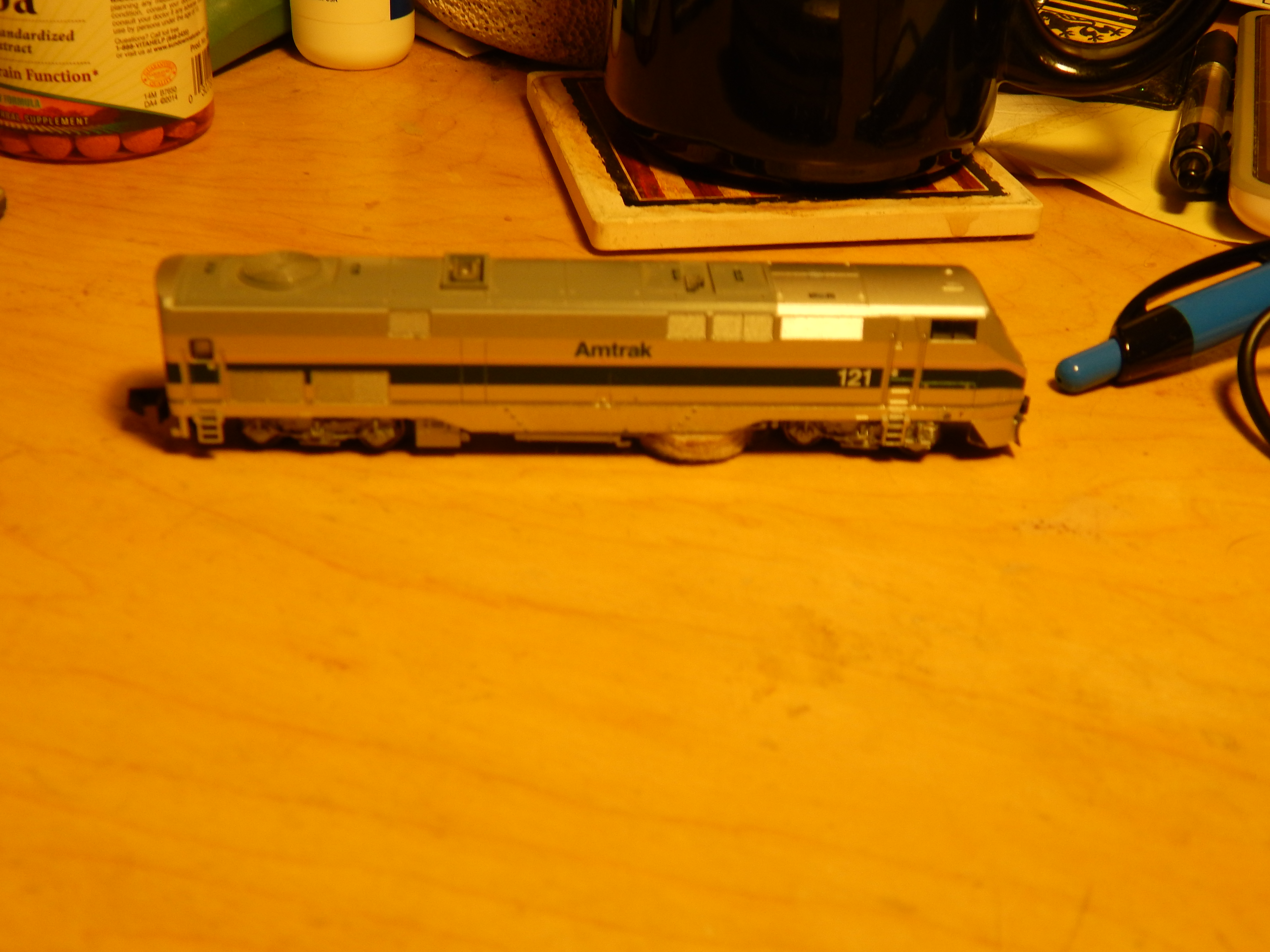 N-scale P-42 Gutted as track cleaner 2
