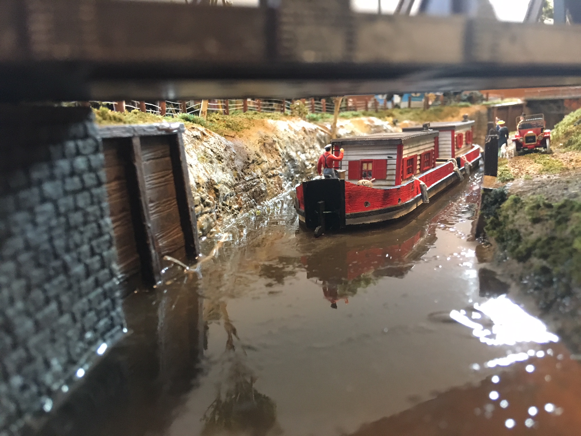 model railroad canal scene