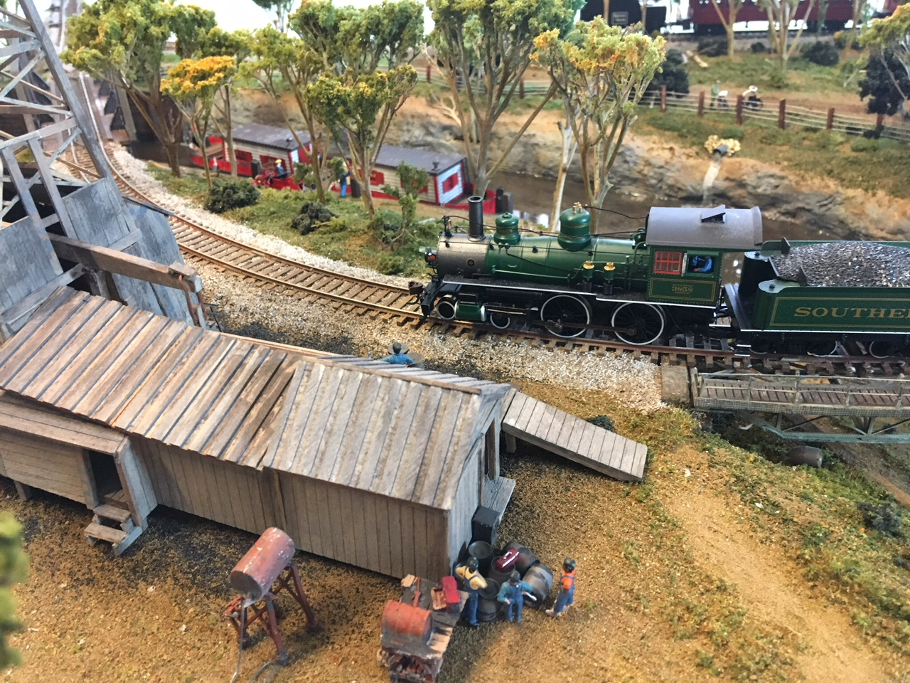 model steam train and oil rig