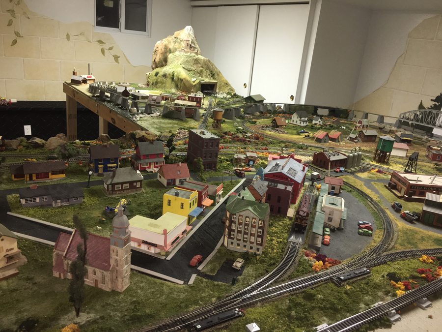 HO model railroad corner view