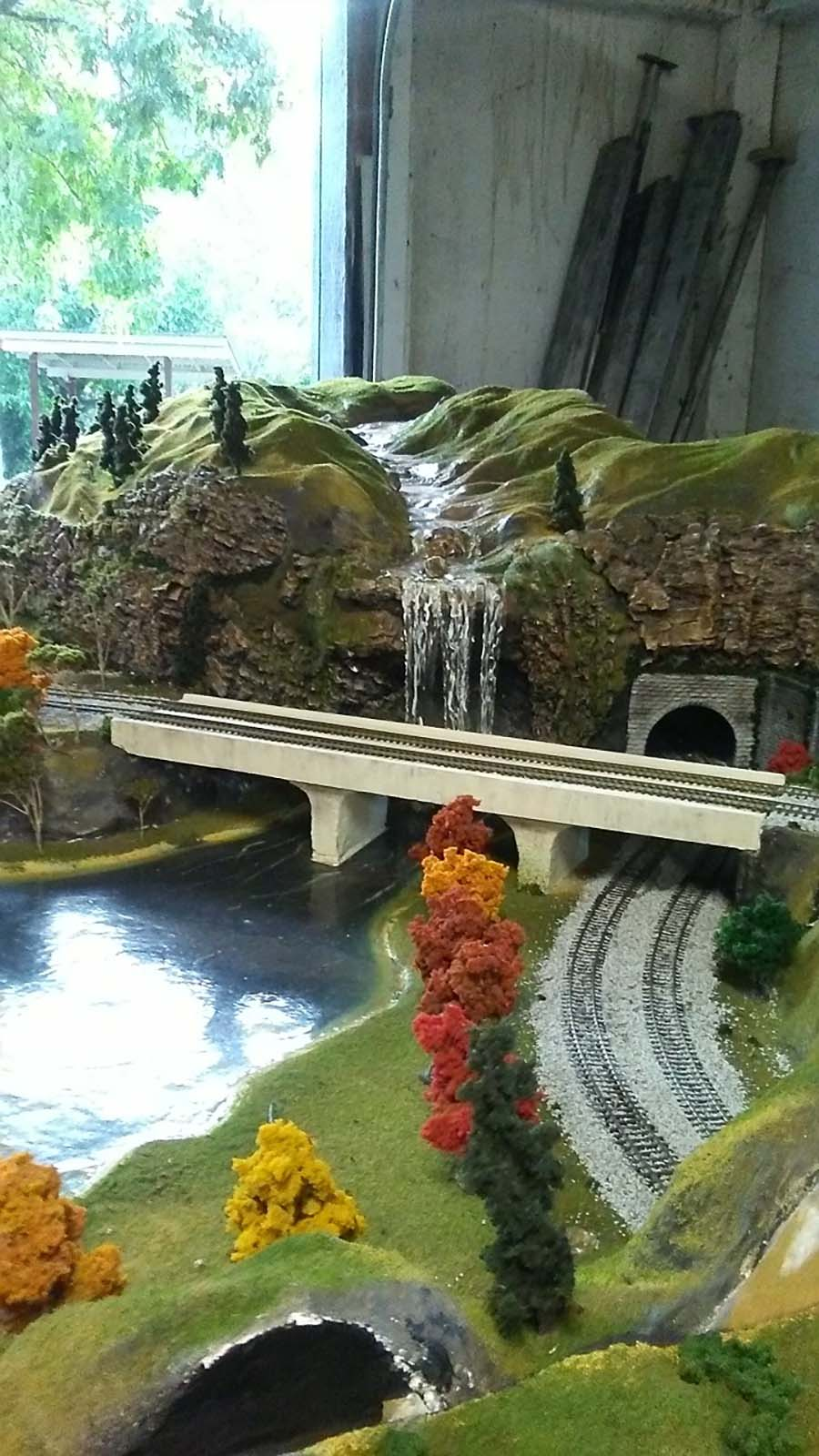 HO model railroad bridge waterfall