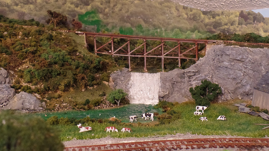 model railroad cows stream