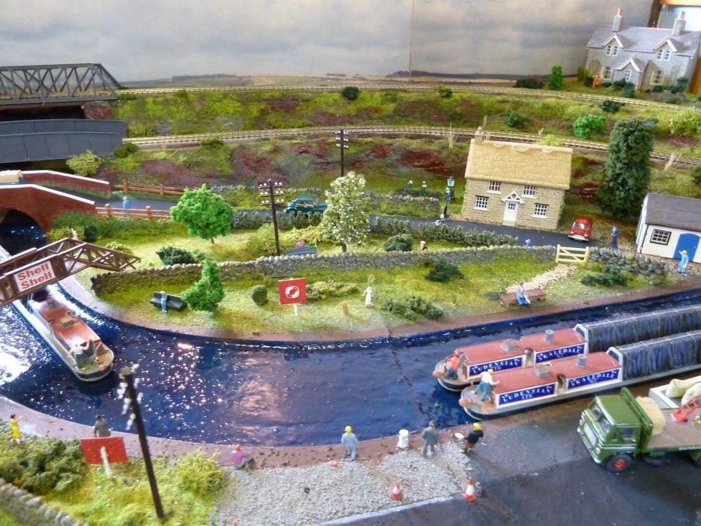 model train canal scene