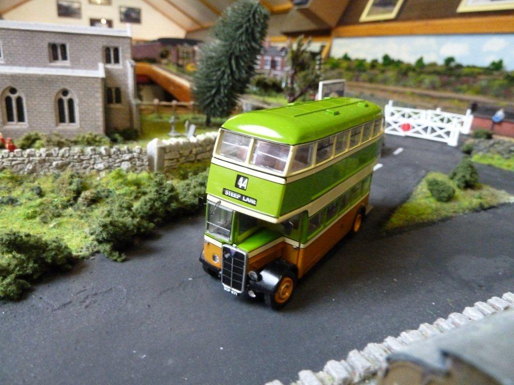 model train vintage bus