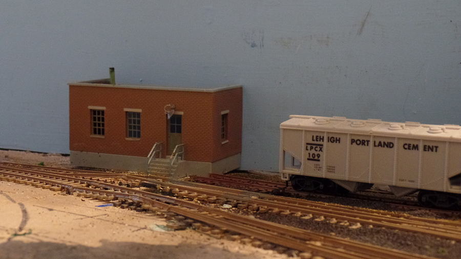 HO model railroad side building
