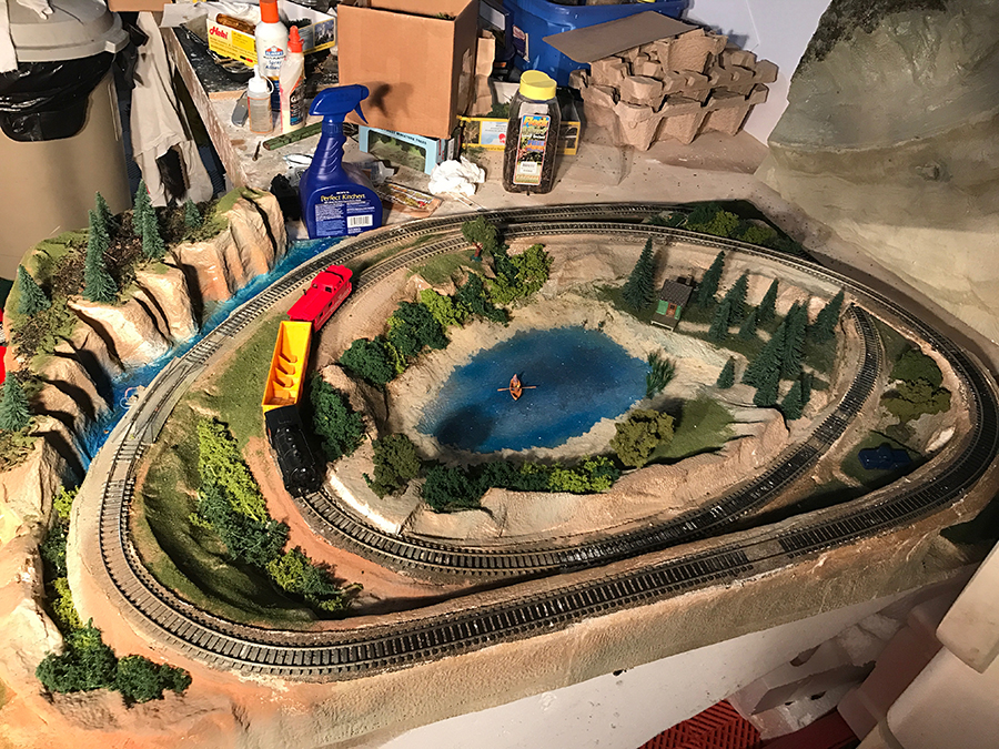 model railroad with lake