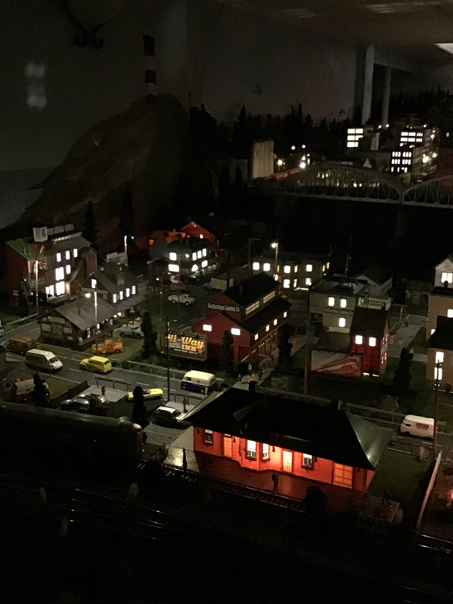 model railroad fishing view night
