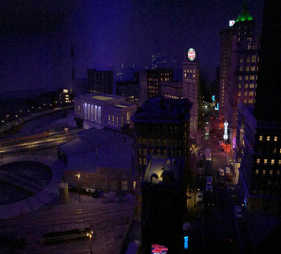 N scale night scene