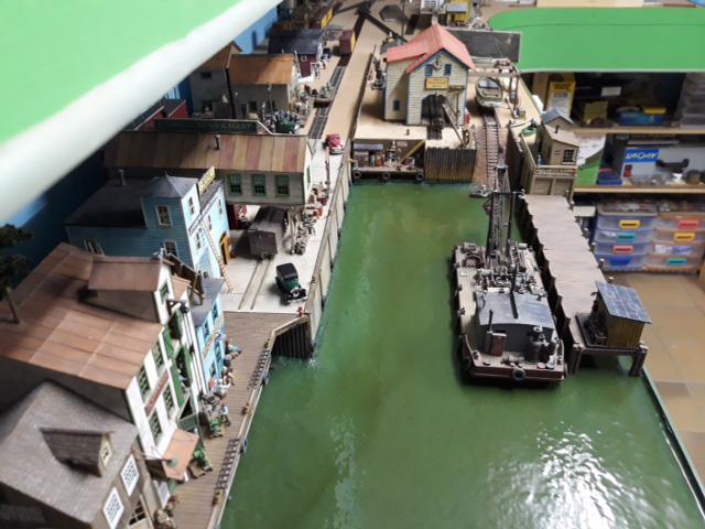 model railroad harbor