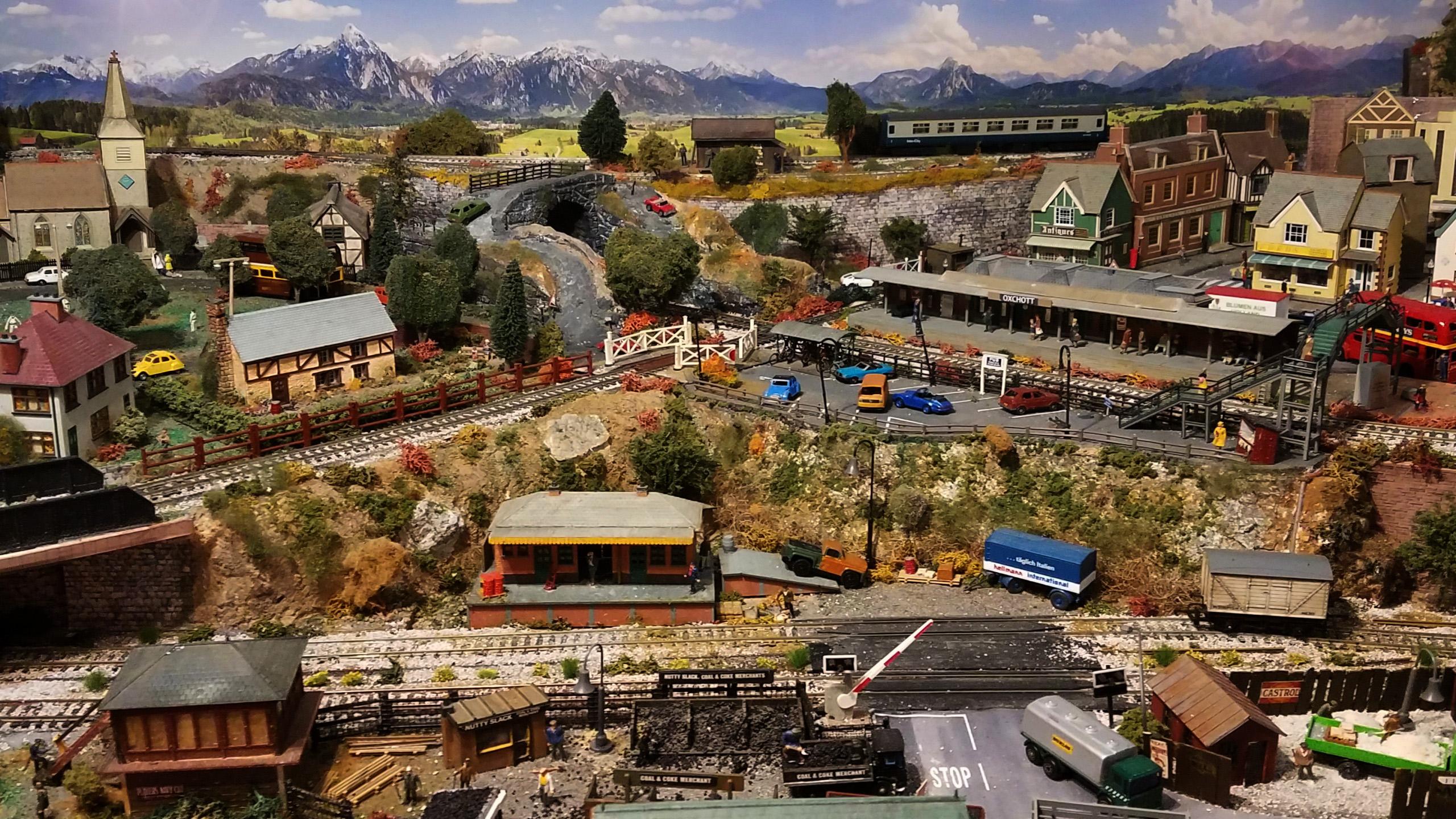 model railway with backdrop