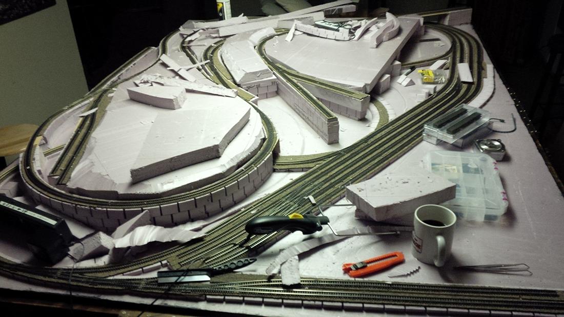 model railroad foam mountains