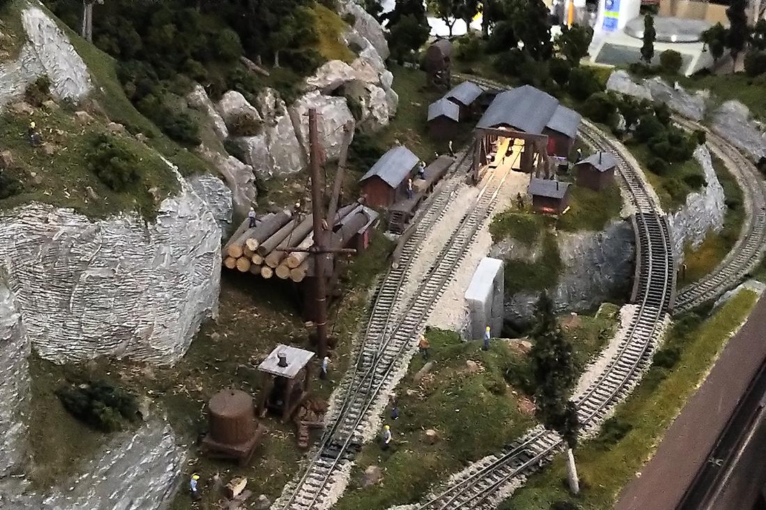 model railroad logging camp